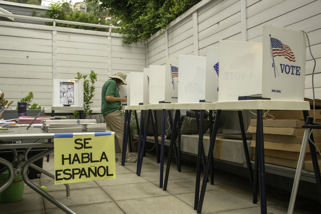 Voters in Beachwood Canyon, a Hollywood Hills neighborhood, in Los Angeles, cast their ballots in the California primary election on Tuesday, June 5, 2018.