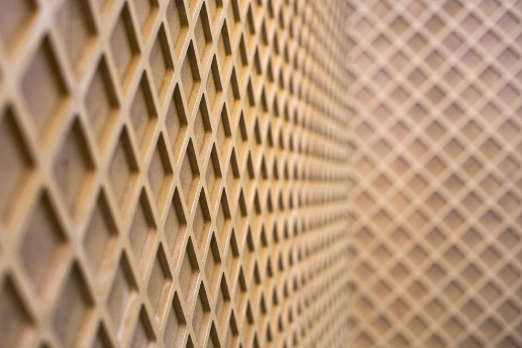 A waffle cone wall lines the entrance to the mint chip room during a press preview at the Museum of Ice Cream in the Arts District on Thursday, April 20, 2017. The museum is open from April 22 through May 29.