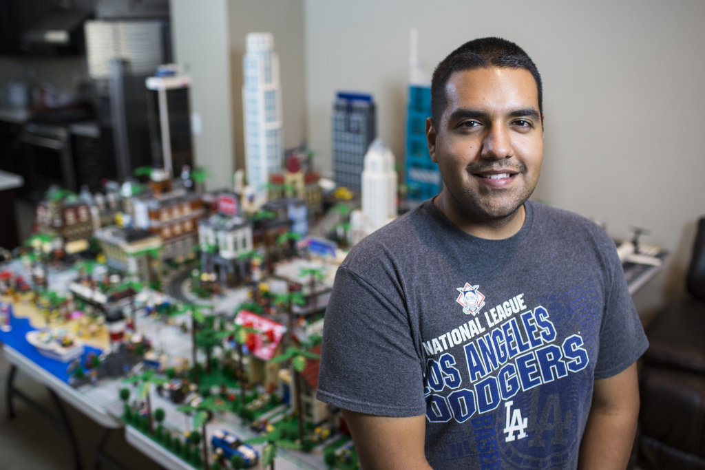 Jorge Parra Jr., 23, has spent the last 8 years building this Lego version of Los Angeles. Parra has been interested in Legos since childhood. Today, he makes YouTube videos documenting his city.