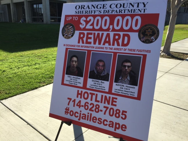 Hossein Nayeri escaped just over a week ago and was returned to Orange County jail on Sunday. Authorities say he was apprehended after a short chase on foot near a Whole Foods parking lot in San Francisco.