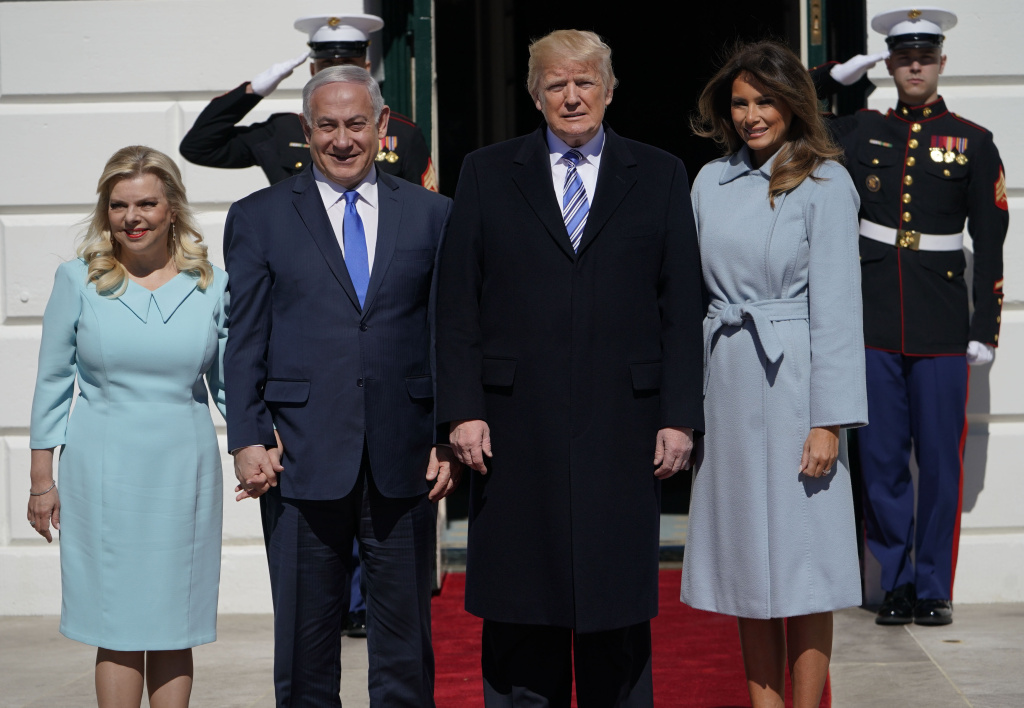 US President Donald Trump and First Lady Melania Trump welcomes Israeli Prime Minister Benjamin Netanyahu and his wife Sara to the White House on March 5, 2018 in Washington,DC.
