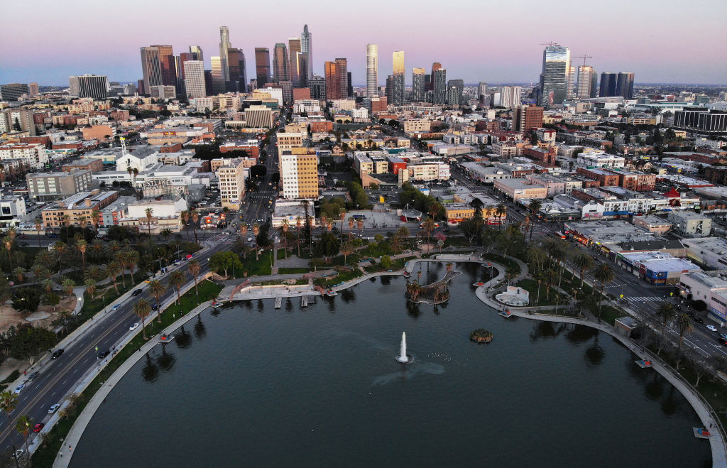 An aerial view shows MacArthur Park and downtown in the midst of the coronavirus pandemic, on April 15, 2020 in Los Angeles, California.
