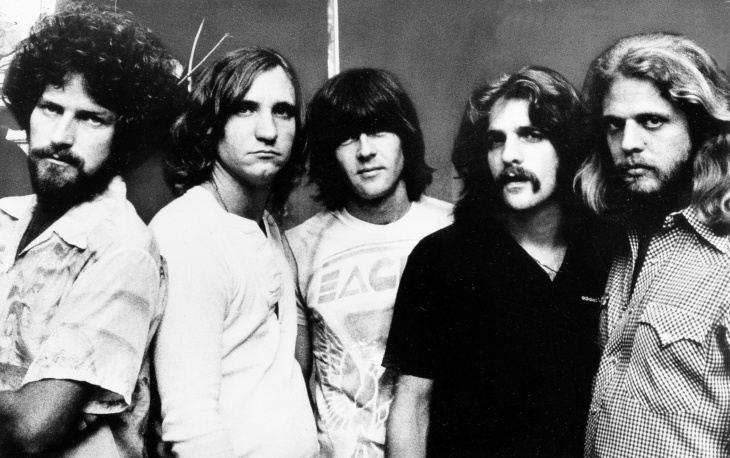 Since its formation in 1971, the Los Angeles based rock band The Eagles have seen six of their albums sell more than a million copies. From left; Don Henley, drums; Joe Walsh, guitar; Randy Meisner, bass; Glenn Frey, guitar; and Don Felder, guitar. 1977 photo.