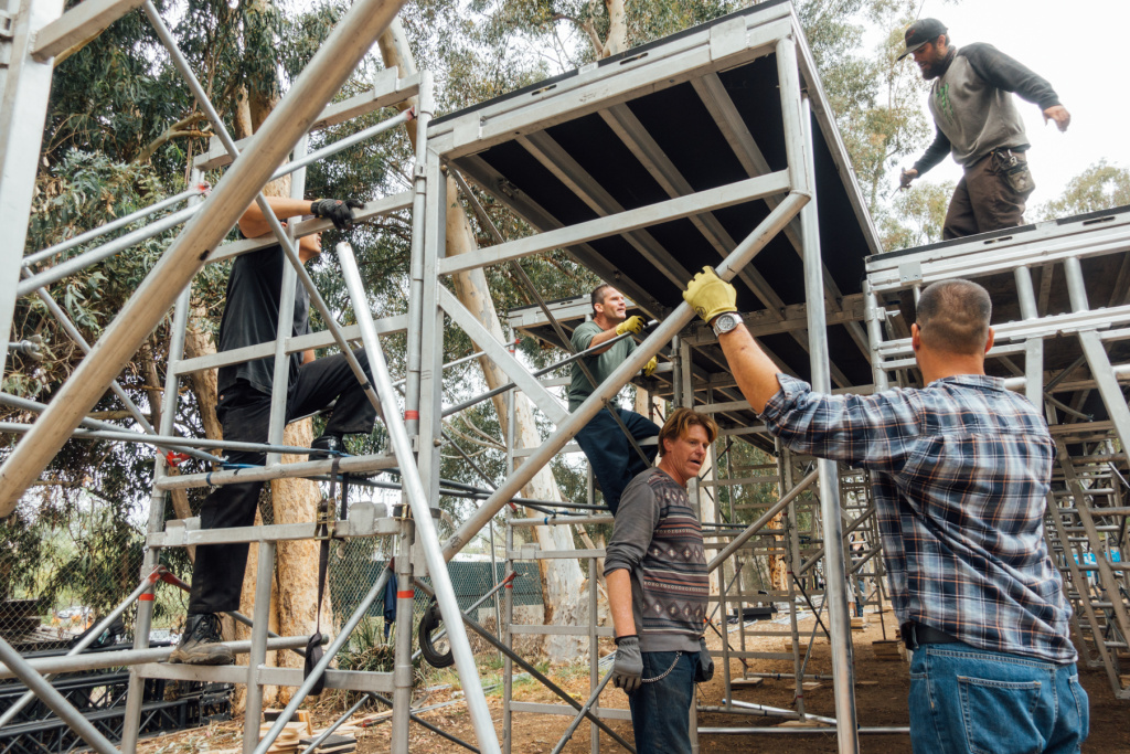 Veterans in Arts program participants assemble stadium seating for the upcoming Henry IV production in the Japanese Garden on the West LA VA campus. Left-to-right: Kevin Lam, Bradley Wassil, Jeffrey Sonnenberg, Jonathan Willet.