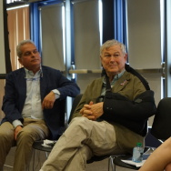 Orange County Congressman Dana Rohrabacher and Lori Ajax, Chief of California's Bureau of Medical Cannabis Regulation, at a panel on medical marijuana sponsored by UC Irvine, May 5, 2017.