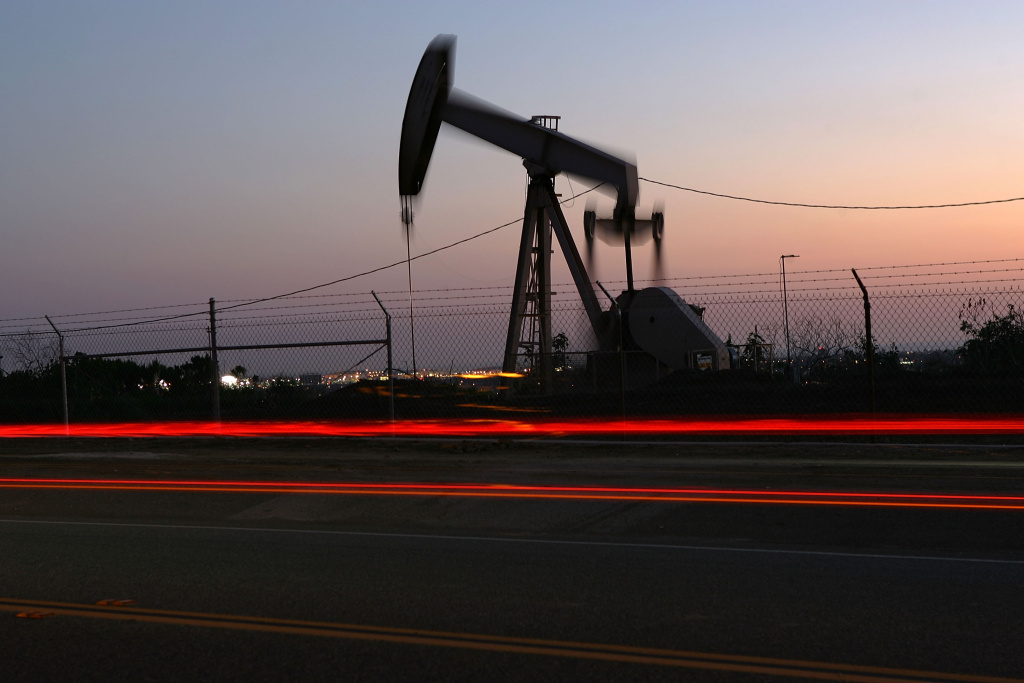 An oil well in Culver City, California. According to an estimate by the California Department of Oil Gas and Geothermal Resources, 90 percent of oil wells in Los Angeles are within 2,500 feet of homes, schools, parks, hospitals or other public places.