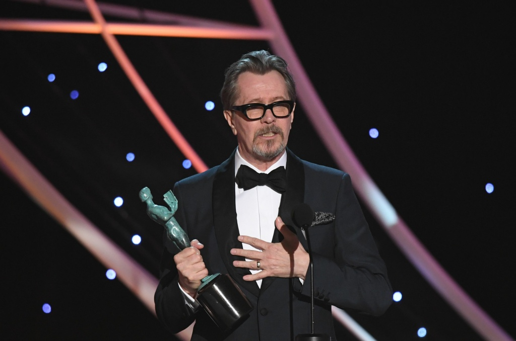 Actor Gary Oldman accepts the award for Best Actor during the 24th Annual Screen Actors Guild Awards show at The Shrine Auditorium on January 21, 2018 in Los Angeles, California.