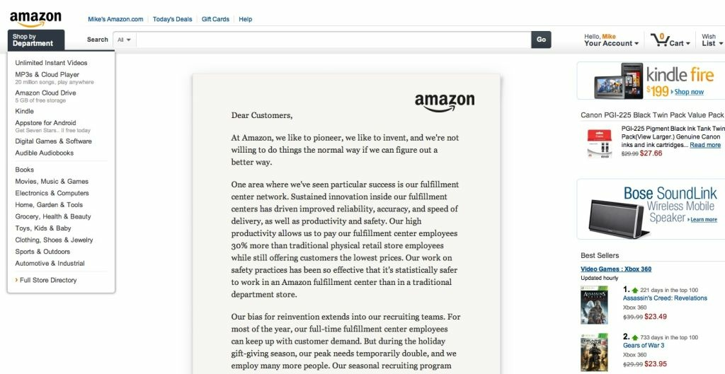 A screenshot of Amazon.com's homepage. Should retailers be required to collect sales taxes online?