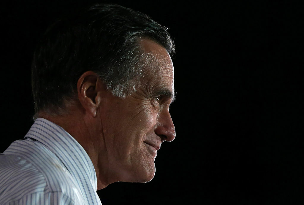 Then Republican presidential candidate and former Massachusetts Gov. Mitt Romney speaks during a campaign rally in this October 23, 2012 file photo. Romney is trying for a political comeback as he launches a Senate campaign in Utah.
