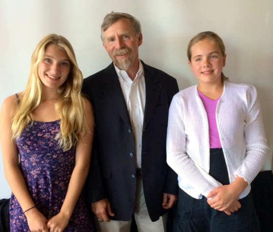 UCSB biochemist Dr. Dennis Clegg with Lily Wash, left, and Meghan Downing.