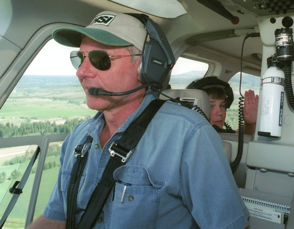 File: Actor Harrison Ford Flies His Helicopter July 10, 2001 Near Jackson, Wy. Ford Located And Rescued Missing 13-Year-Old Boy Scout Cody Clawson.