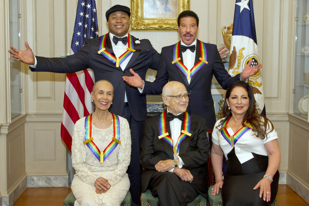 The five recipients of the 40th Annual Kennedy Center Honors — LL Cool J, Lionel Richie, Carmen de Lavallade, Norman Lear and Gloria Estefan — pose for a group photo following a dinner in their honor on December 2, 2017 in Washington, D.C.