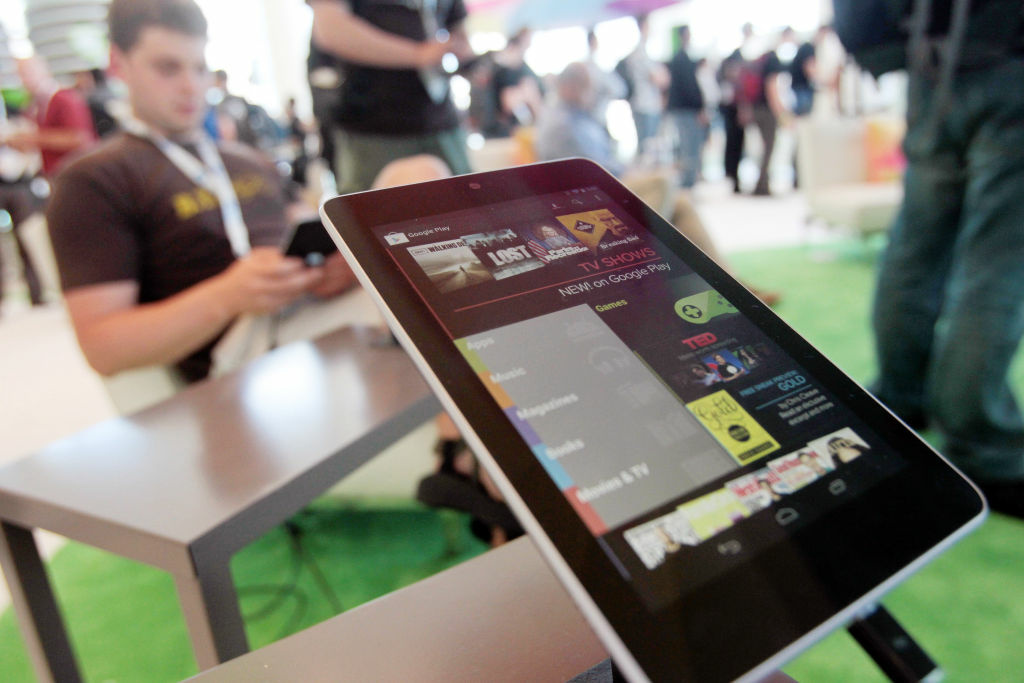 A Nexus 7 tablet is shown at the Google Developers Conference as developer Brad McManus tries out the new device on June 27, 2012 in San Francisco, California.