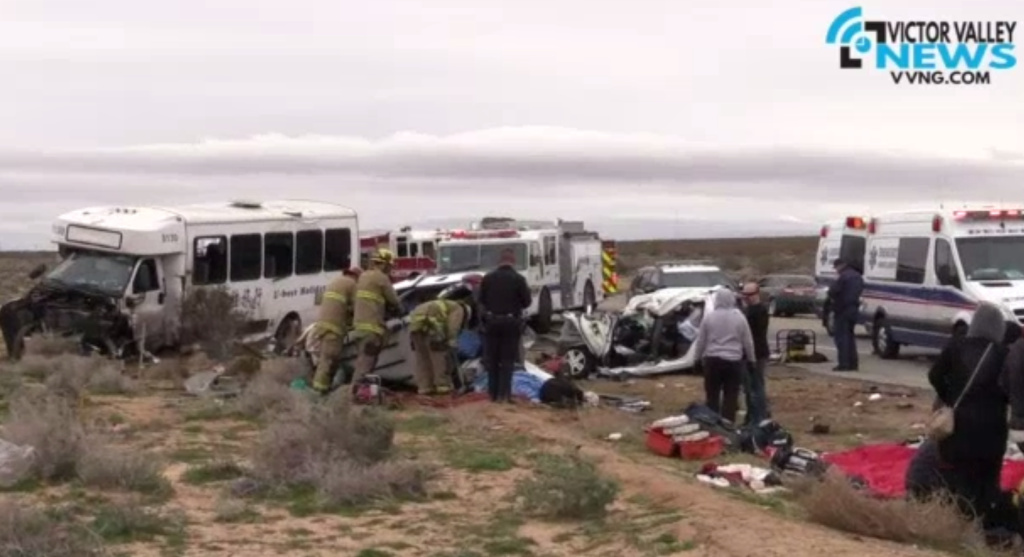 It's unclear why the tour bus crossed into the westbound lanes of State Route 58 near Kramer, about 100 miles northeast of Los Angeles, CHP Officer Brian Benson said. There was no remarkable weather in the area at the time of the collision, he said.