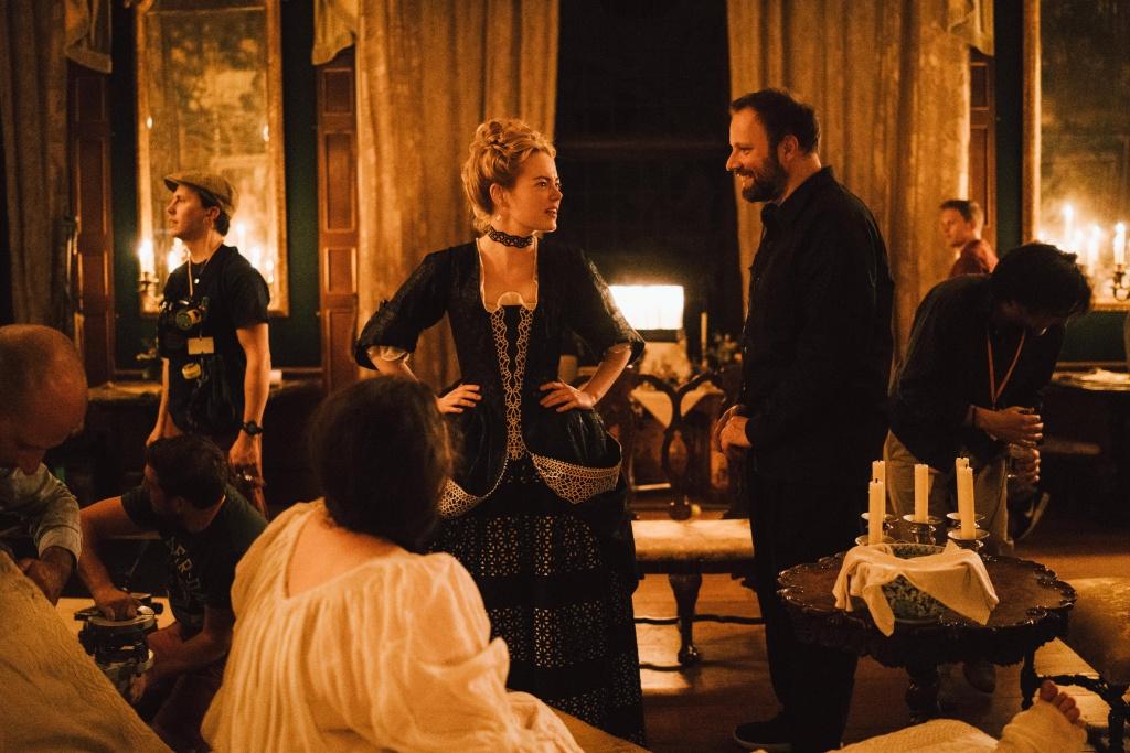 Emma Stone and Director Yorgos Lanthimos on the set of