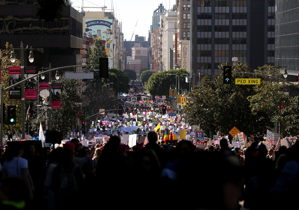 File: Marchers fill Hill Street during the Women's March on Jan. 21, 2017 in Los Angeles.