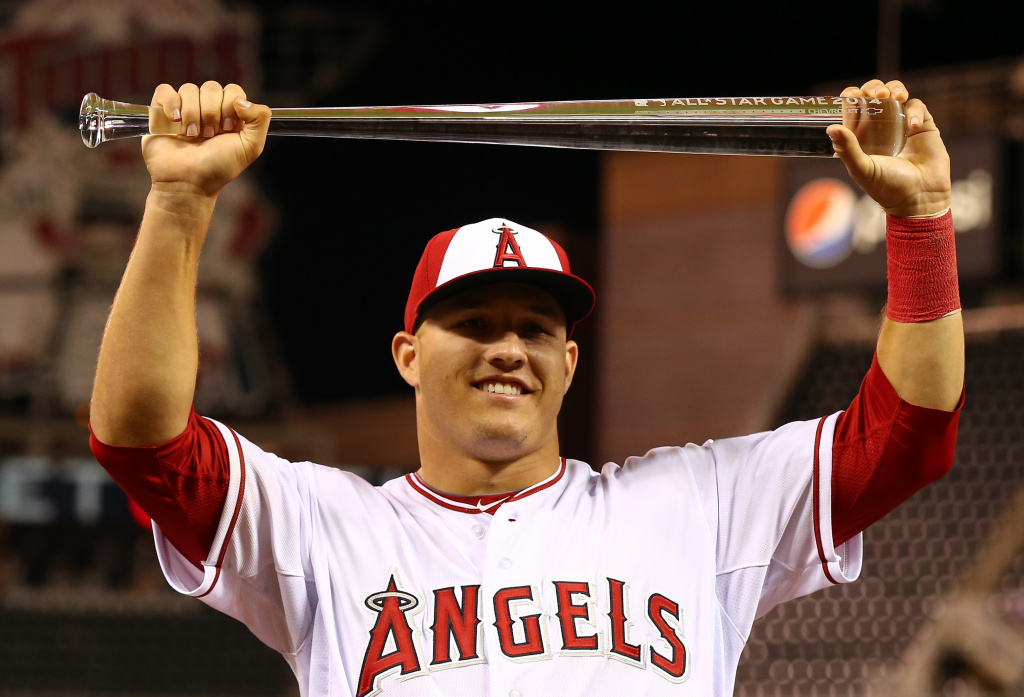 American League All-Star Mike Trout #27 of the Los Angeles Angels poses with the MVP trophy after a 5-3 victory over the National League All-Stars during the 85th MLB All-Star Game at Target Field on July 15, 2014 in Minneapolis, Minnesota.