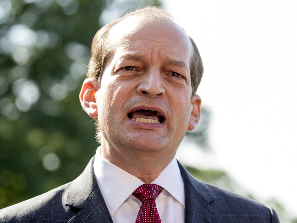 Alex Acosta said Friday he is stepping down as labor secretary so his handling of a 2008 prosecution of Jeffrey Epstein won't distract from the U.S. economy's