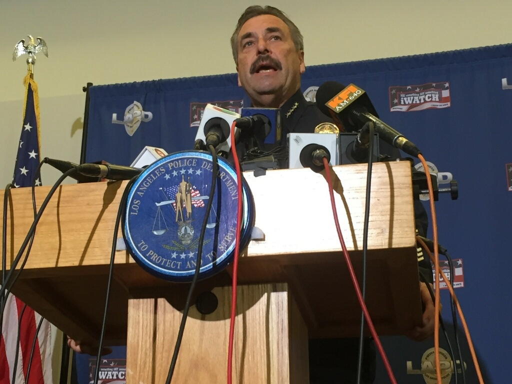 LAPD Chief Charlie Beck speaks at a press conference on Monday, March 2, 2015, a day after an officer-involved shooting on L.A.'s Skid Row that left a homeless man dead.