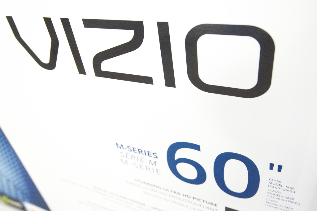 A Vizio TV box is displayed at a Best Buy store  in Fairfax, Virginia on November 26, 2015, on a Black Friday sale that started a day earlier during Thanksgiving evening.