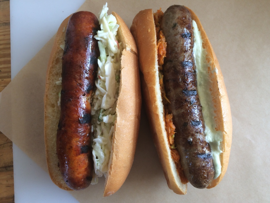 Two sausages from Seoul Sausage in West Los Angeles.