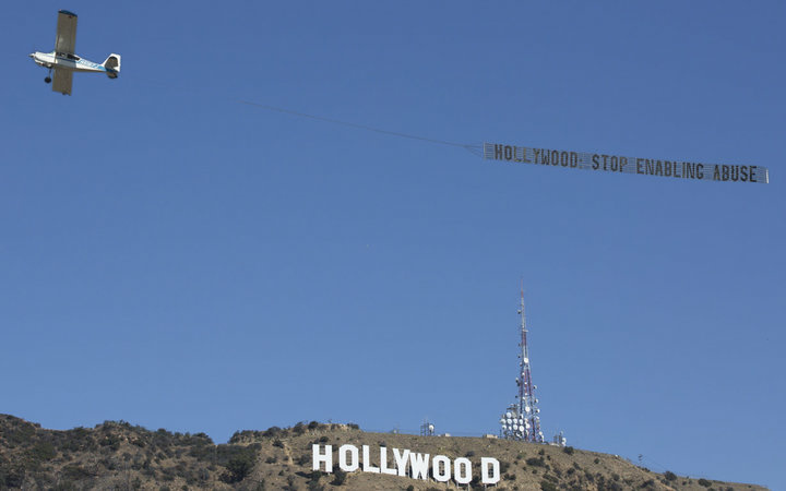 The feminist activist group Ultraviolet hired a plane to fly over LA this week with a banner reading,