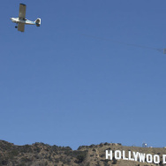 """The feminist activist group Ultraviolet hired a plane to fly over LA this week with a banner reading, """"Hollywood: Stop Enabling Abuse."""""""