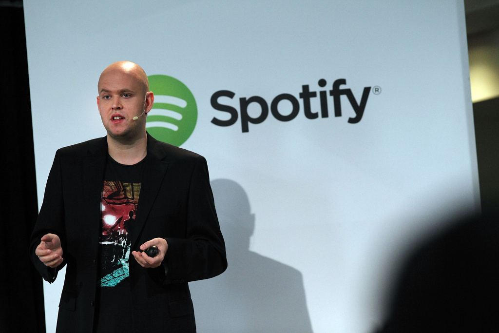 Spotify CEO Daniel Ek speaks on December 11, 2013 in New York City.