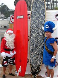 Two contestants pose before the Fifth Annual Doo Dah Surf. Neither of them won a prize, but they made the world .003% happier.