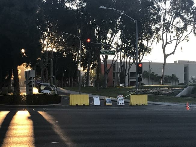 An entrance to Cypress College in Orange County is blocked Monday March 5, 2018.