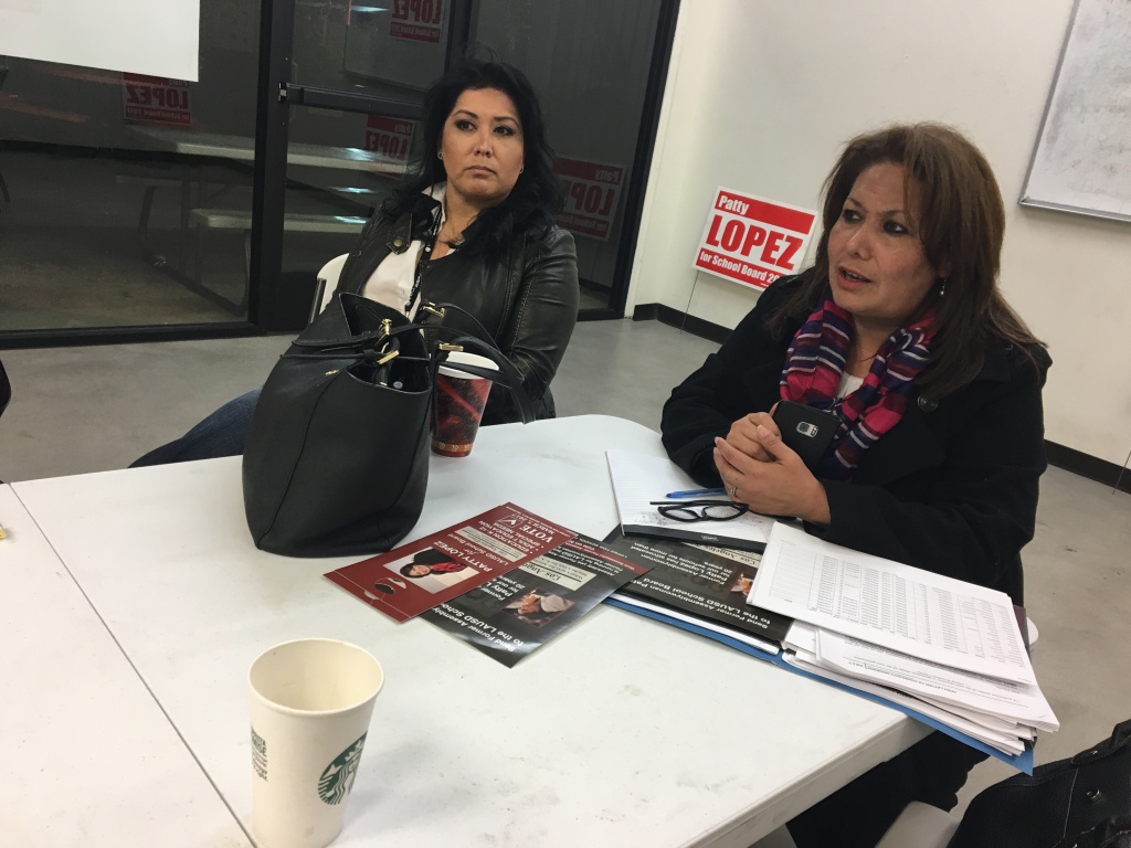L.A. school board candidate Patty Lopez, right, speaks during a meeting of her supporters on Sunday, March 5.