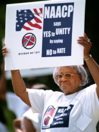 Clara Polite of Georgia holds a sign during a protest on April 19, 2002 in Fort Mill, SC.