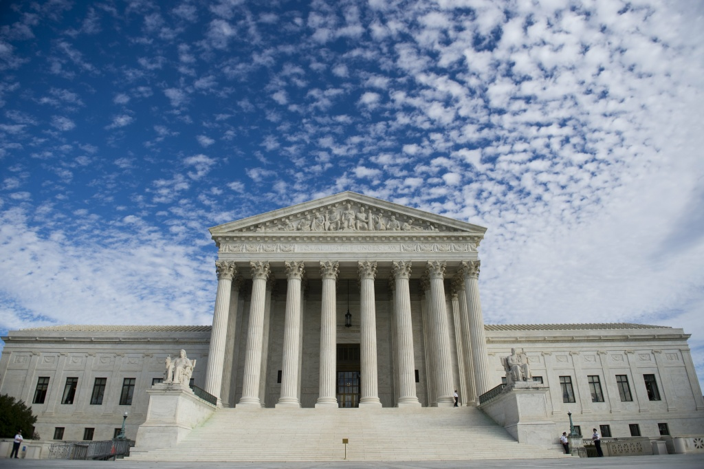 The US Supreme Court in Washington, DC, November 6, 2013. Earlier the Court heard oral arguments in the case of Town of Greece v. Galloway dealing with whether holding a prayer prior to the monthly public meetings in the New York town of Greece violates the Constitution by endorsing a single faith.