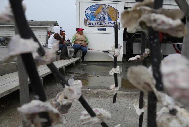 A customer enters the Drakes Bay Oyster Co. on September 4, 2013 in Inverness, California. Oyster farmer Kevin Lunny suffered another setback in his fight with the U.S. Park Service to renew the lease for his oyster farm that operates on Drakes Estero.