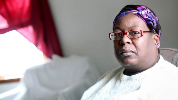 Shirley Ree Smith sits in the living room of her daughter's upstairs duplex in Alexandria, Minn. Smith is waiting to hear if California Gov. Jerry Brown will grant her clemency.