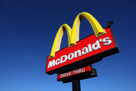 A sign stands outside of a McDonald's restaurant February 9, 2009 in San Francisco, California