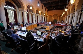 Los Angeles City Council members at a meeting in 2010.