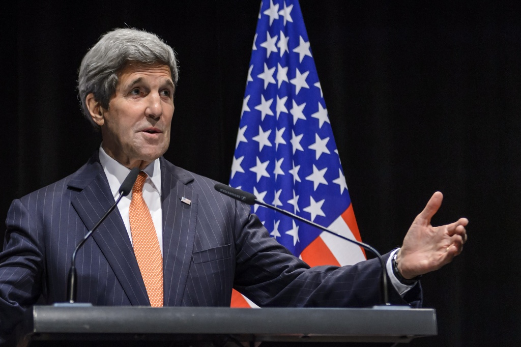 United States Secretary of State John Kerry gestures as he delivers a statement about the recently concluded round of negotiations with Iran over their nuclear program at the International Olympic Museum in Lausanne, Switzerland.