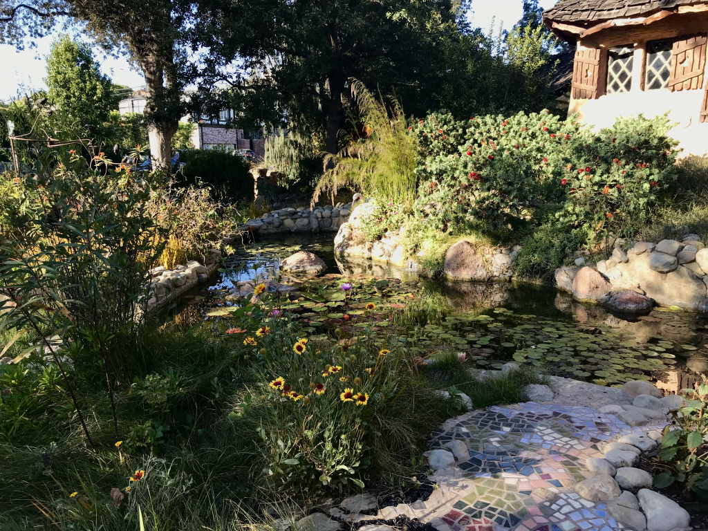 The pond/moat in front of the Spadena Witch House.