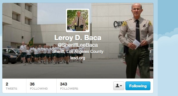LA County Sheriff Lee Baca has joined Twitter and his now writing a blog on the LA Sheriff's Department website.