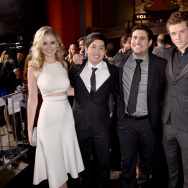 "(L-R) Actors Virginia Gardner, Allen Evangelista, director Dean Israelite, actors Jonny Weston and Sam Lerner attend the premiere of Paramount Pictures' ""Project Almanac"" at TCL Chinese Theatre on January 27, 2015 in Hollywood, California."
