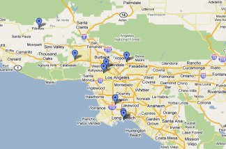 Map of Fourth of July events happening around Southern California.