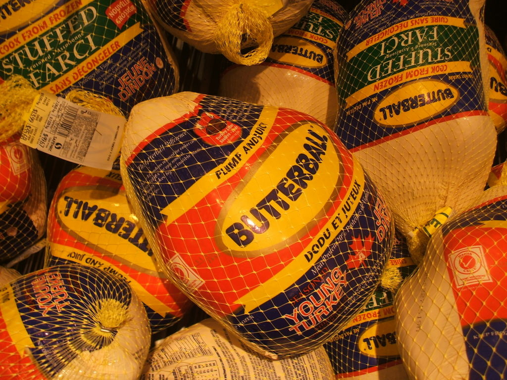 A case of Butterball turkeys.