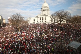 Thousands of demonstrators protest outside the Wisconsin State Capitol March 12, 2011 in Madison, Wisconsin.