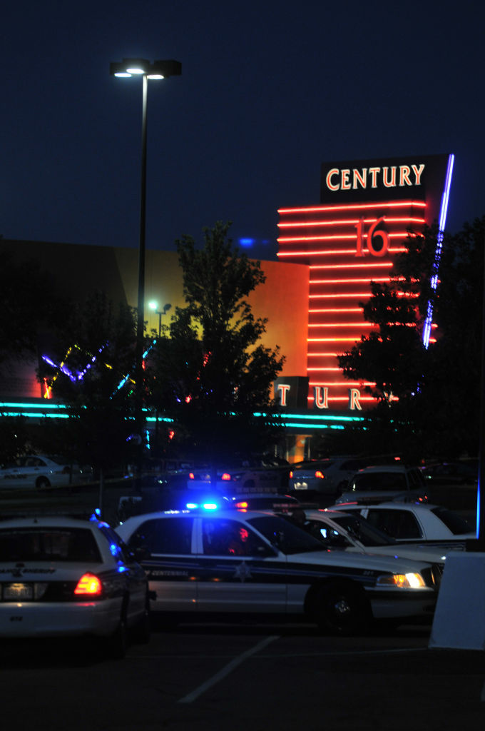 AURORA, CO - JULY 20:  The Century 16 movie theatre is seen where a gunmen attacked movie goers during an early morning screening of the new Batman movie,