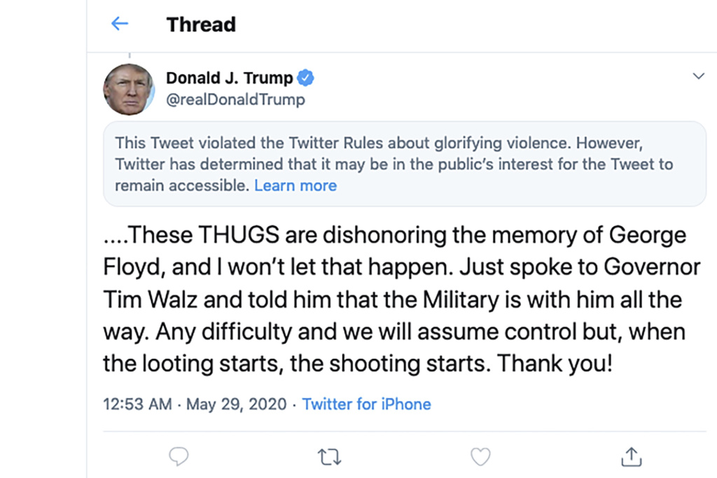 This image from the Twitter account of President Donald Trump shows a tweet he posted on Friday, May 29, 2020, after protesters in Minneapolis. On Tuesday, the Center for Democracy and Technology sued Trump over the president's executive order aimed at limiting a legal protection long enjoyed by tech companies like Twitter.