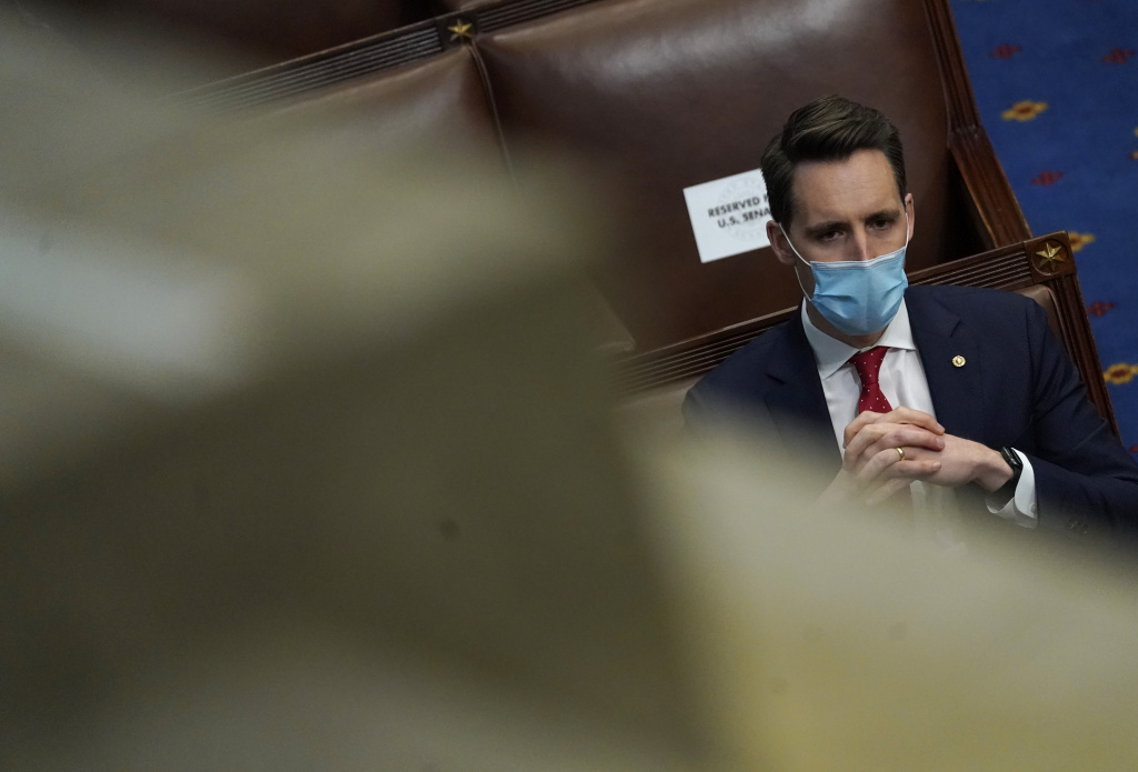 U.S. Sen. Josh Hawley (R-MO) looks on in the House Chamber during a reconvening of a joint session of Congress on January 06, 2021 in Washington, DC.