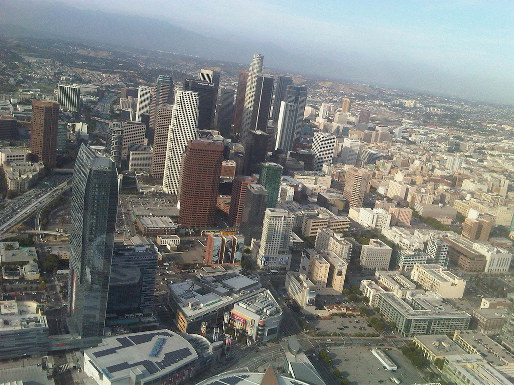 Downtown Los Angeles from the sky. A recent study out of USC has found that if a