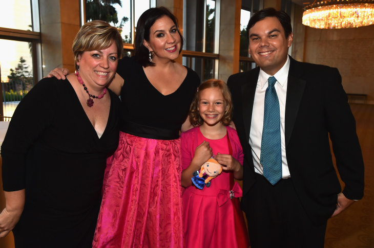 LOS ANGELES, CA - APRIL 14:  Songwriters Kristen Anderson-Lopez (R) and Robert Lopez attend The Los Angeles Children's Chorus' Annual Gala Bel Canto honoring Ed Nowak and