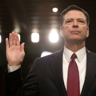 Former FBI Director James Comey is sworn in while testifying before the Senate Intelligence Committee in the Hart Senate Office Building on Capitol Hill June 8, 2017 in Washington, DC.